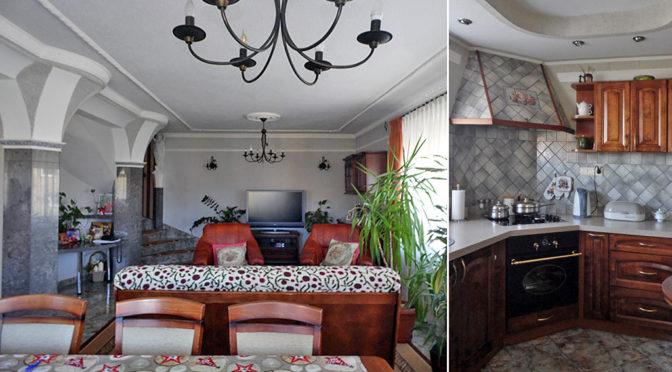 urządzony w stylu klasycznym salon oraz kuchnia w zabudowie w luksusowej rezydencji na sprzedaż Malbork (okolice)