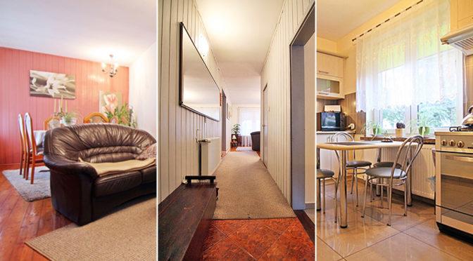 trzy ujęcia eleganckiego wnętrza ekskluzywnej rezydencji na sprzedaż Wieluń