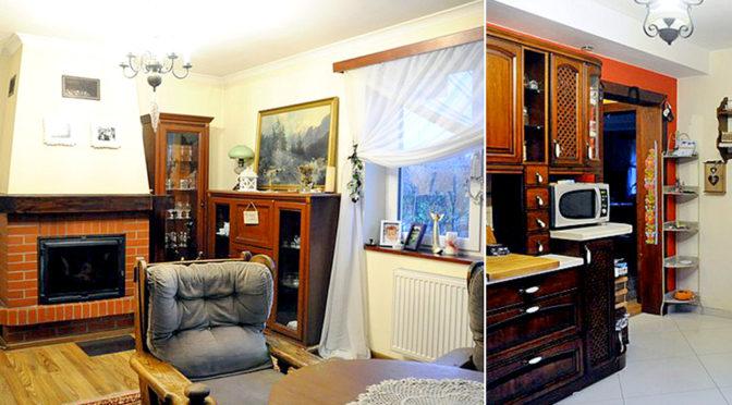 po lewej salon z kominkiem, po prawej komfortowa kuchnia w luksusowej rezydencji do sprzedaży Chrzanów (okolice)