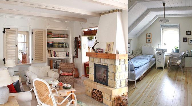 po lewej salon z kominkiem, po prawej sypialnia w ekskluzywnej rezydencji do sprzedaży Leszno