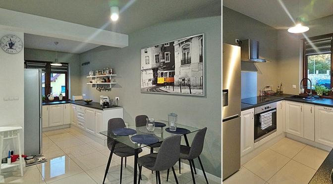 po lewej komfortowe wnętrze, po prawej kuchnia w luksusowej rezydencji do wynajmu Bolesławiec