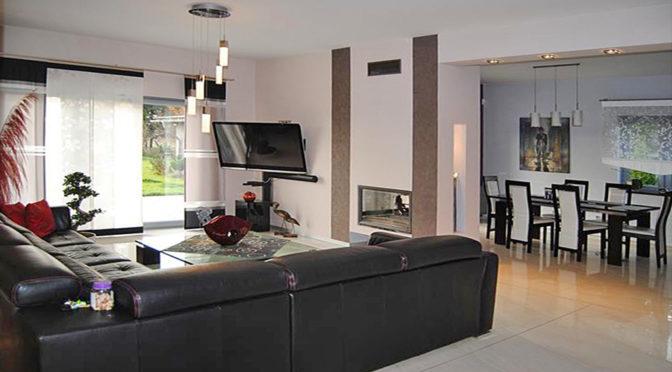 zaprojektowane w nowoczesnym stylu wnętrze ekskluzywnej rezydencji na sprzedaż Zgorzelec