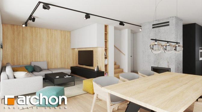 nowoczesny salon z kominkiem w luksusowej rezydencji do sprzedaży Kraków (okolice)