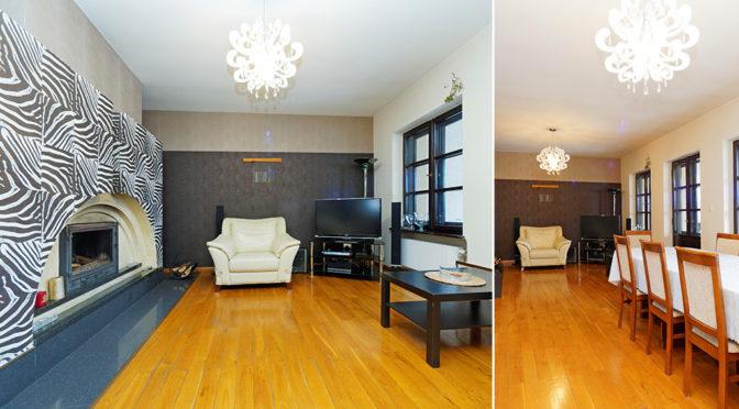 zaprojektowany w klasycznym, eleganckim stylu salon i jadalnia w ekskluzywnej rezydencji do wynajęcia Tarnów-okolice