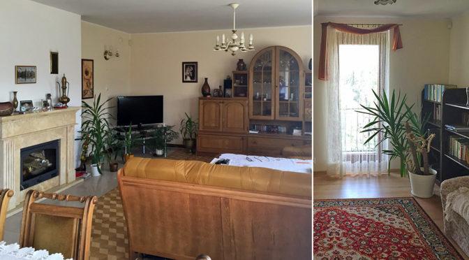 przepiękny salon z kominek w ekskluzywnej rezydencji na sprzedaż Wieluń (okolice)