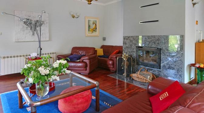 luksusowy salon z kominkiem w ekskluzywnej rezydencji na sprzedaż Zielona Góra