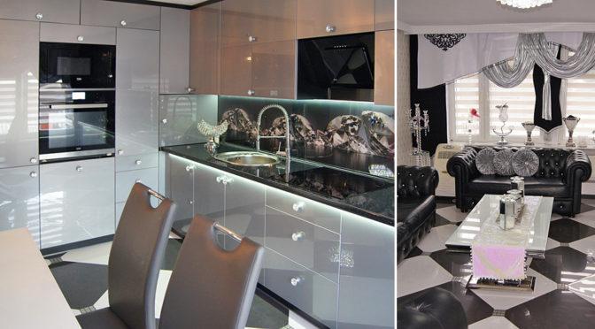nowoczesna kuchnia i salon w ekskluzywnej rezydencji na sprzedaż Inowrocław