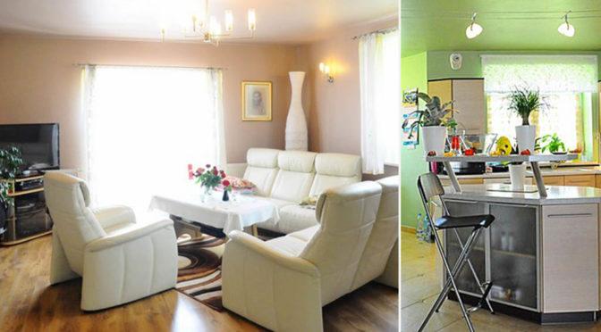 po lewej salon, po prawej kuchnia w ekskluzywnej rezydencji na sprzedaż Kraków (okolice)