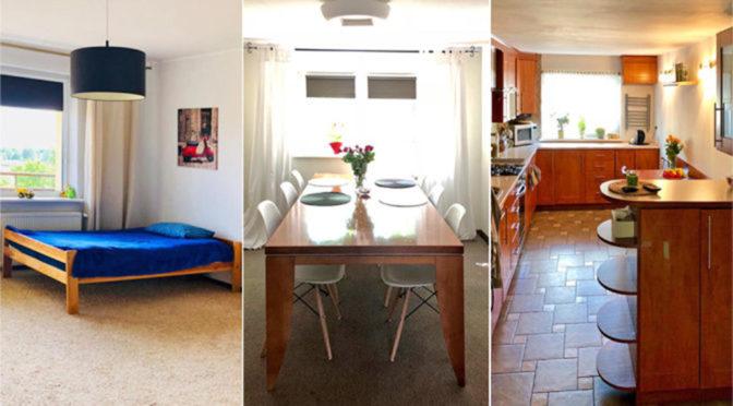 po lewej sypialnia, w środku jadalnia, a po prawej kuchnia w ekskluzywnej rezydencji na sprzedaż Mazury