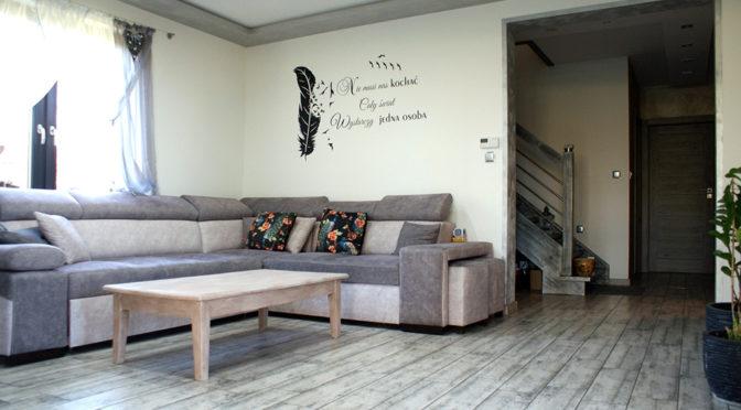 nowoczesne wnętrze salonu w ekskluzywnej rezydencji na sprzedaż Głogów (okolice)