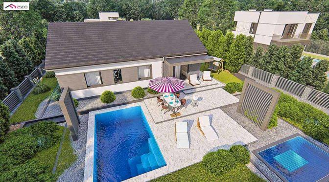widok z lotu ptaka na luksusową rezydencję z basenem do sprzedaży Kalisz