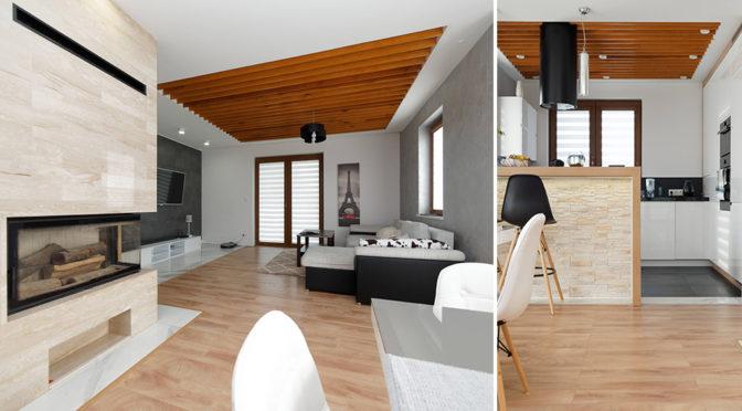 zaaranżowane w nowoczesnym designie wnętrze salonu luksusowej rezydencji na sprzedaż Tarnów (okolice)