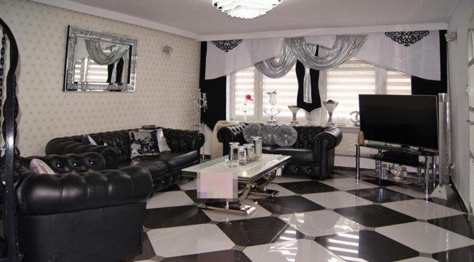nowoczesny, oryginalny aranż salonu w ekskluzywnej rezydencji na sprzedaż Inowrocław