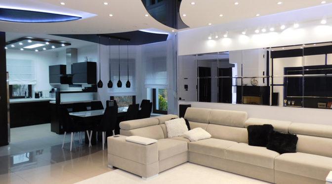 nowoczesny salon w ekskluzywnej rezydencji na sprzedaż Ostrów Wielkopolski (okolice)