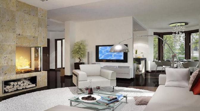 nowoczesny salon w luksusowej rezydencji do sprzedaży Suwałki (okolice)
