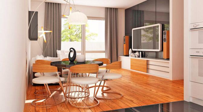wizualizacja prezentuje przykładową aranżację salonu w ekskluzywnym apartamencie na sprzedaż Kalisz