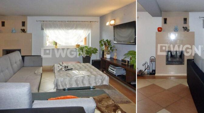 od lewej salon i zbliżenie na kominek w luksusowej rezydencji na sprzedaż Katowice (okolice)