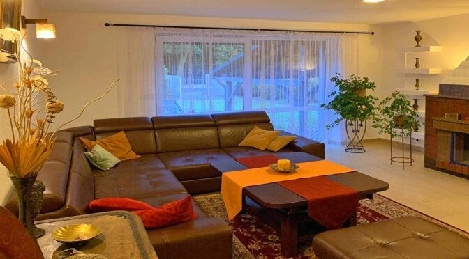 kameralne wnętrze salonu z kominkiem w ekskluzywnej rezydencji na wynajem Legnica (okolice)