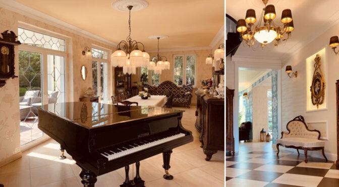 wytworne wnętrze z fortepianem w ekskluzywnej rezydencji na wynajem Ustka