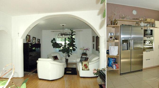 po lewej salon, po prawej kuchnia w ekskluzywnej rezydencji do sprzedaży Katowice