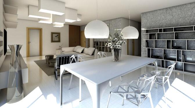 wizualizacja prezentująca luksusowy salon w ekskluzywnym apartamencie na sprzedaż Gdańsk
