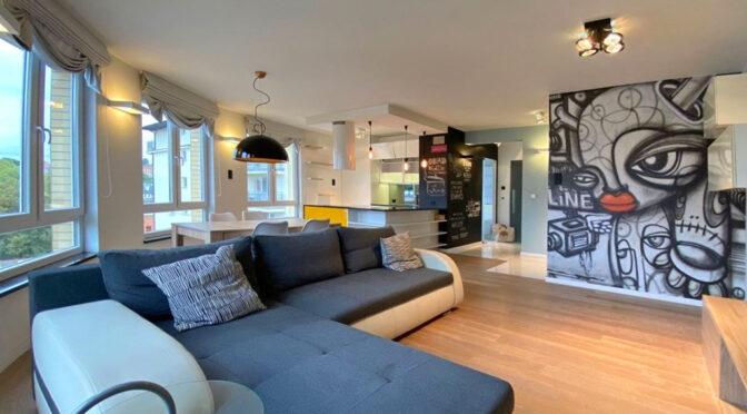 słoneczne i komfortowe wnętrze ekskluzywnego apartamentu do wynajmu Szczecin