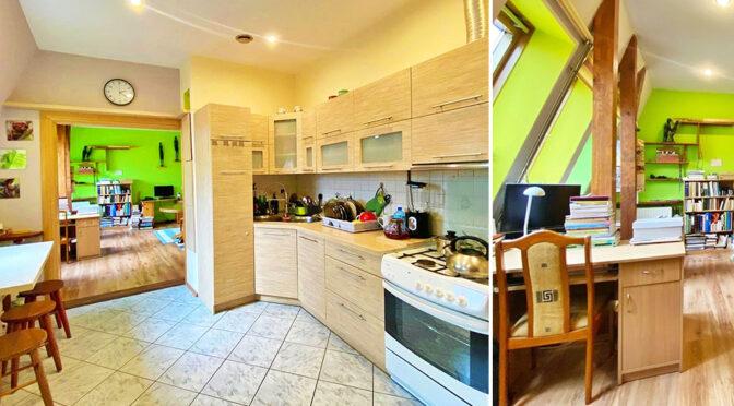 po lewej kuchnia, po prawej salon w ekskluzywnym apartamencie do sprzedaży Szczecin