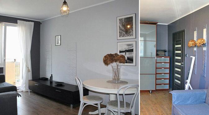 po lewej salon, po prawej kuchnia w ekskluzywnym apartamencie do sprzedaży Tczew