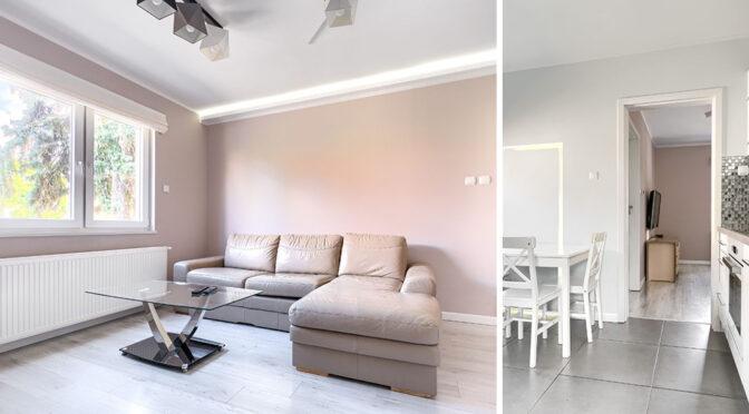 po lewej pokój gościnny, po prawej kuchnia w ekskluzywnym apartamencie do wynajęcia Szczecin
