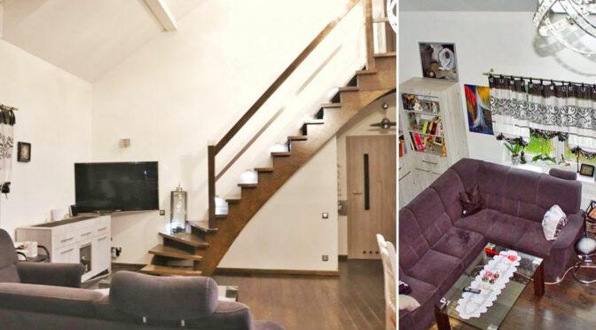 po lewej salon, po prawej widok z góry na luksusową rezydencję na sprzedaż Leszno (okolice)