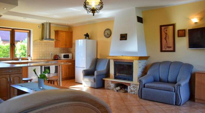 kameralny pokój gościnny z kominkiem w ekskluzywnej rezydencji na sprzedaż nad morzem