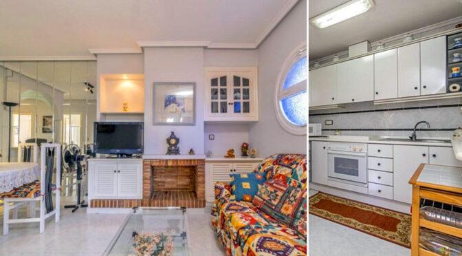 po lewej salon z kominkiem, po prawej kuchnia w ekskluzywnej rezydencji do sprzedaży Hiszpania (Costa Blanca, Orihuela Costa)