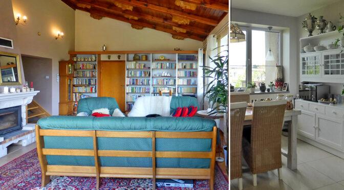 po lewej salon, po prawej kuchnia w ekskluzywnej rezydencji do sprzedaży Mazury