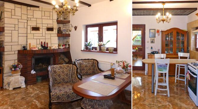 po lewej salon z kominkiem, po prawej fragment wnętrza luksusowej rezydencji do sprzedaży nad morzem