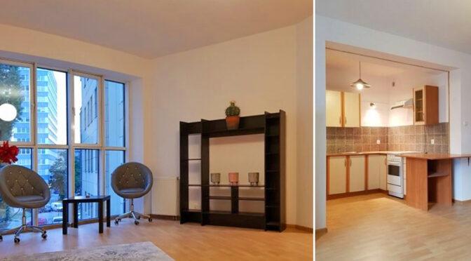 po lewej salon, po prawej kuchnia w luksusowym apartamencie na sprzedaż Poznań