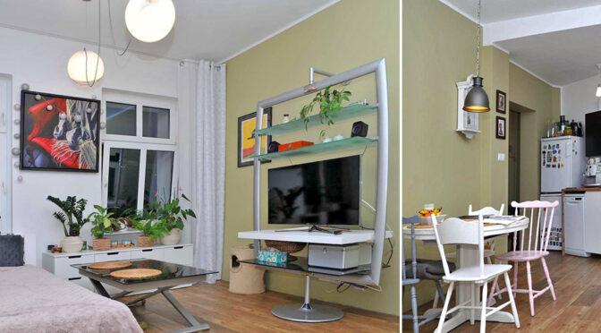 ciekawie zaaranżowany salon i kuchnia w ekskluzywnym apartamencie na sprzedaż Szczecin