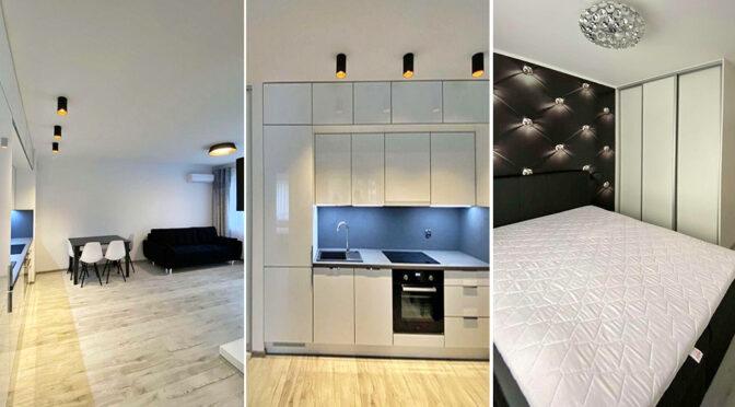 salon, sypialnia i kuchnia w ekskluzywnym apartamencie na wynajem Szczecin