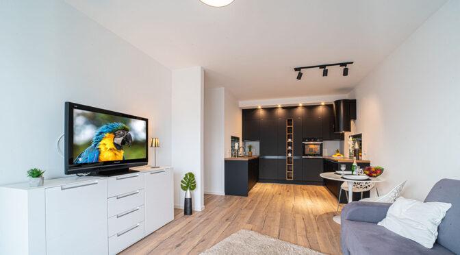 komfortowy pokój dzienny w luksusowym apartamencie na wynajem Bolesławiec