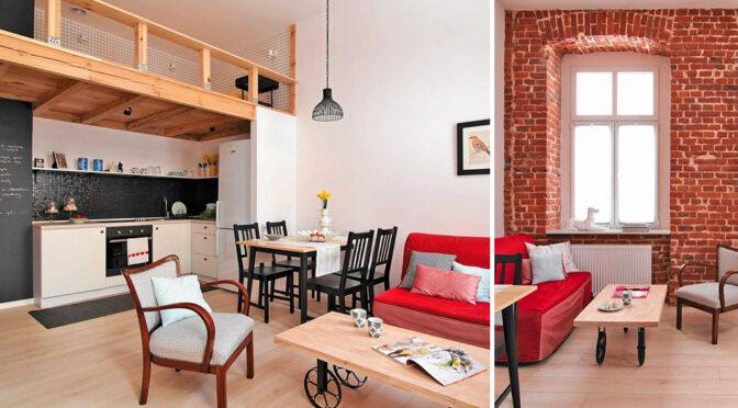dwupoziomowe wnętrze ekskluzywnego apartamentu na wynajem Częstochowa