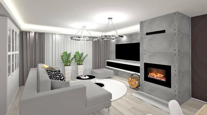 wizualizacja nowoczesnego salonu w ekskluzywnym apartamencie do sprzedaży Grudziądz