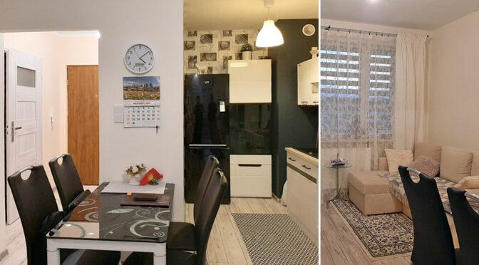 kameralny salon i kuchnia w ekskluzywnym apartamencie do sprzedaży Legnica (okolice)