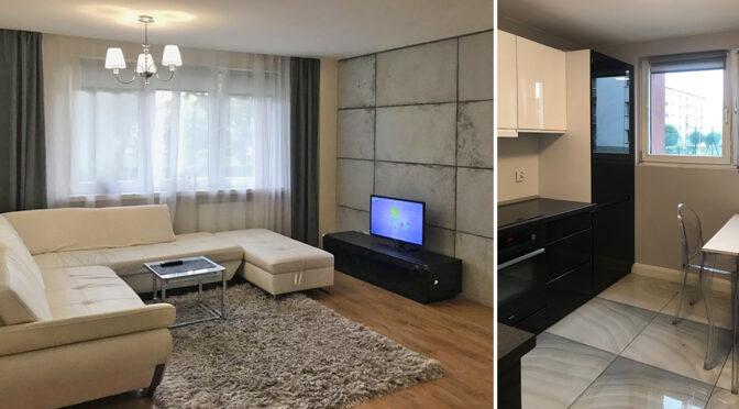 nowoczesny salon i zabudowana kuchnia w ekskluzywnym apartamencie do sprzedaży Wieluń