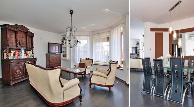 imponujący bogactwem i przepychem salon w luksusowej rezydencji na sprzedaż Leszno (okolice)