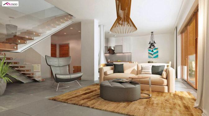 wizualizacja pokazuje nowoczesne wnętrze ekskluzywnej rezydencji do sprzedaży Kalisz