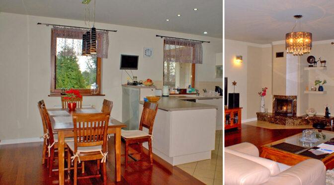 po lewej kuchnia, po prawej salon w ekskluzywnej rezydencji na sprzedaż Legnica (okolice)