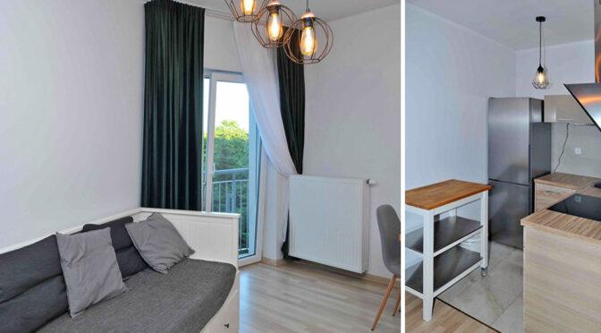 po lewej widok na salon, po prawej na kuchnię w ekskluzywnym apartamencie na sprzedaż Szczecin