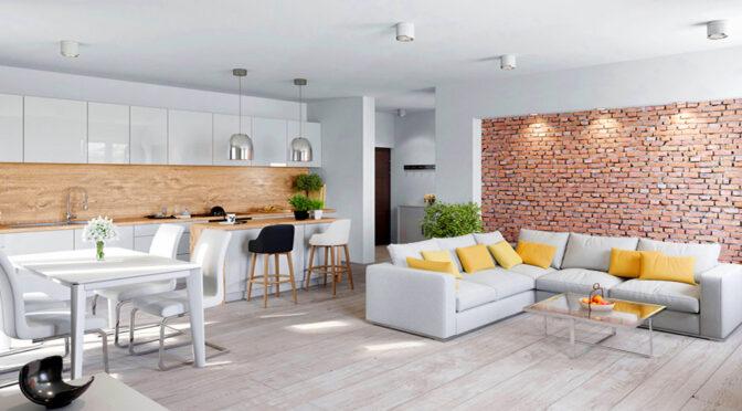 gustownie oświetlony pokój dzienny w ekskluzywnym apartamencie do sprzedaży Legnica