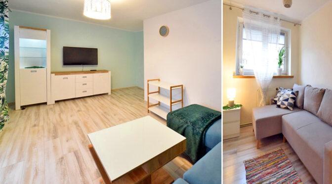 po lewej pokój gościnny, po prawej inne pomieszczenie w ekskluzywnym apartamencie do wynajęcia Bolesławiec