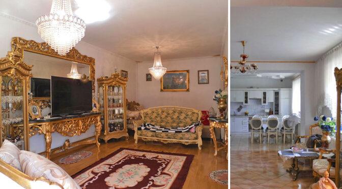 po lewej salon, po prawej widok na kuchnię w luksusowej rezydencji do sprzedaży Częstochowa