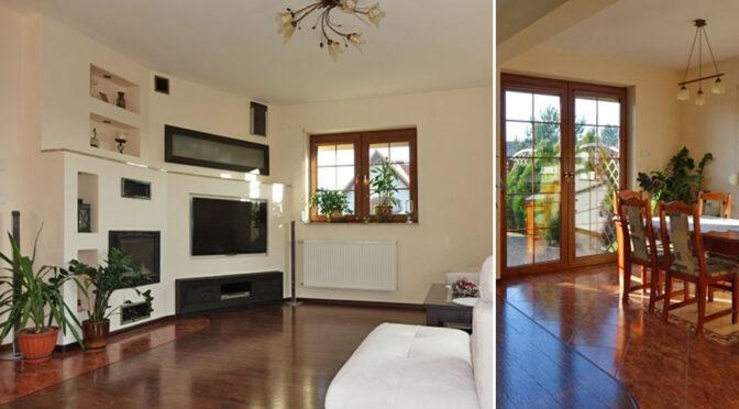 po lewej salon z kominkiem, po prawej pokój dzienny w ekskluzywnej rezydencji do sprzedaży Toruń (okolice)